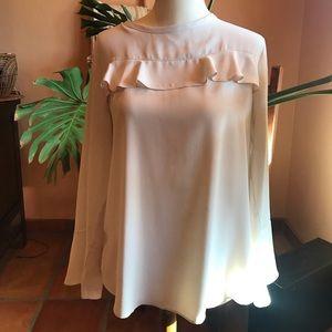 NWOT, Loft SP cream ruffle blouse